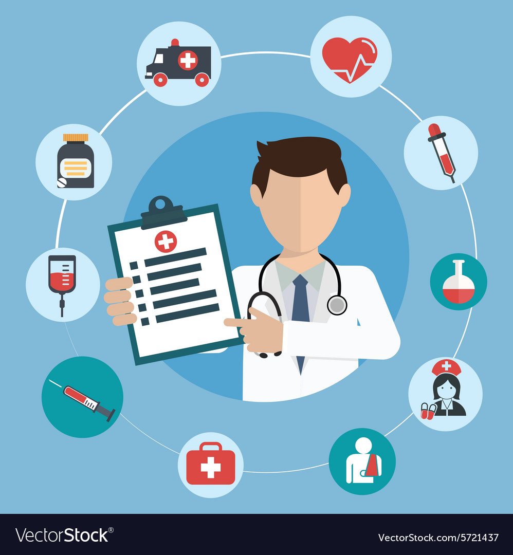 Doctor with medical icons in a circle vector