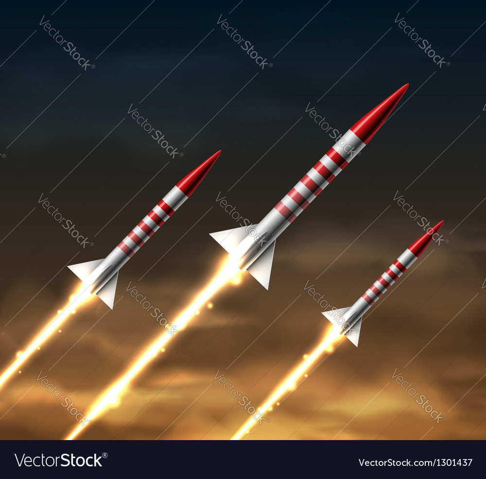 Flying rockets vector