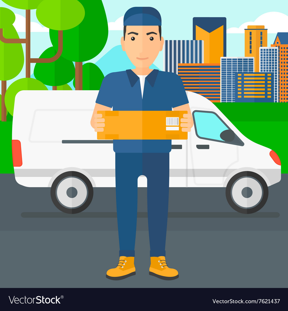 Man delivering box vector