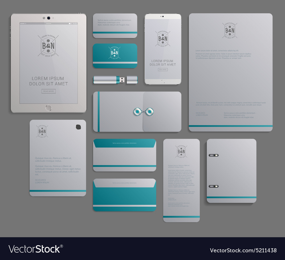 Corporate identity template design with logotype vector