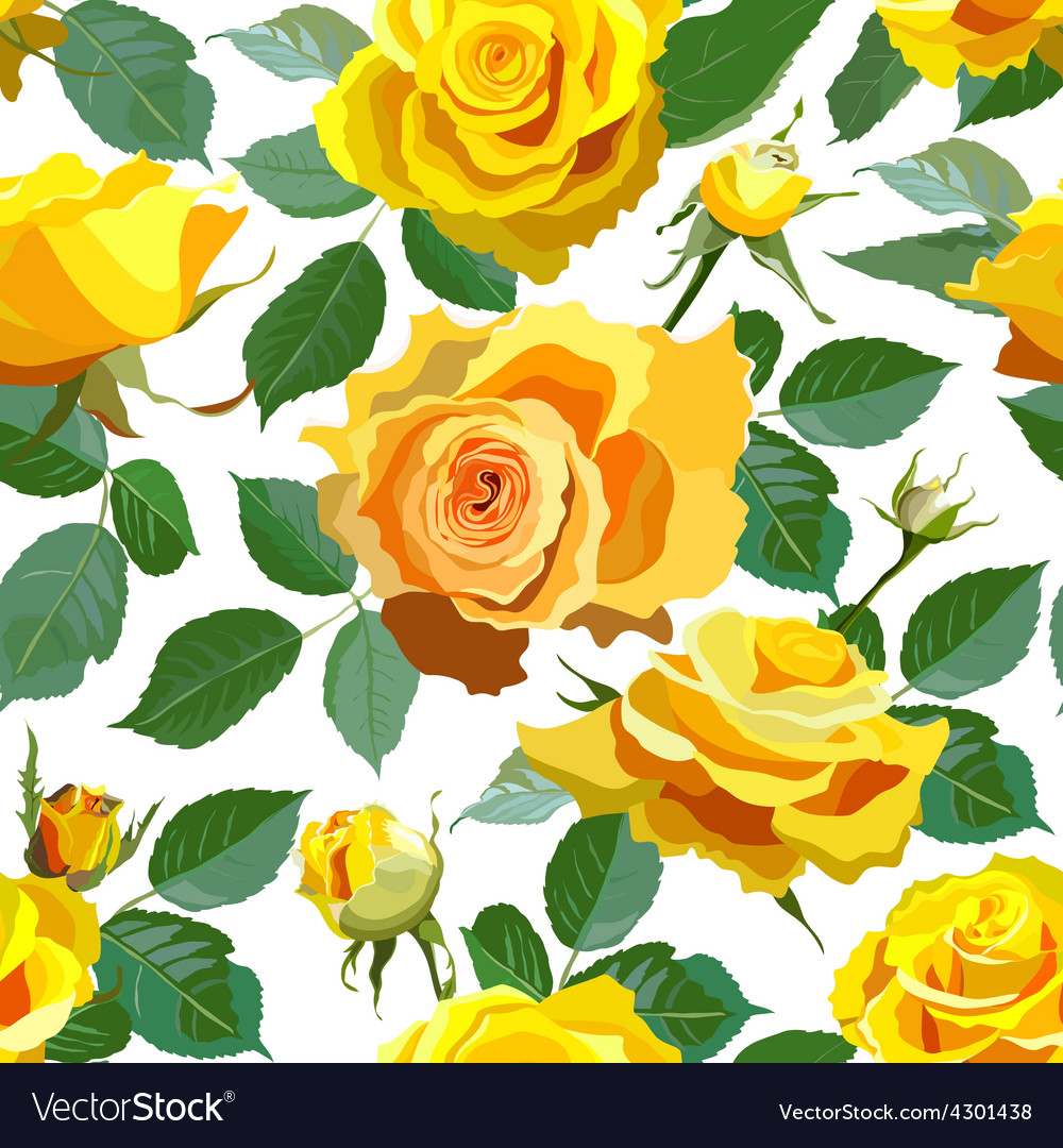 Seamless floral background with yellow roses vector