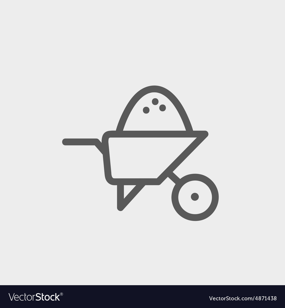 Wheelbarrow full of sand thin line icon vector