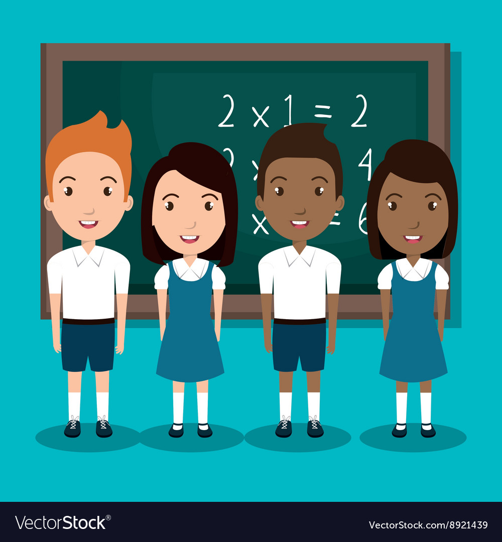Students in classroom design vector