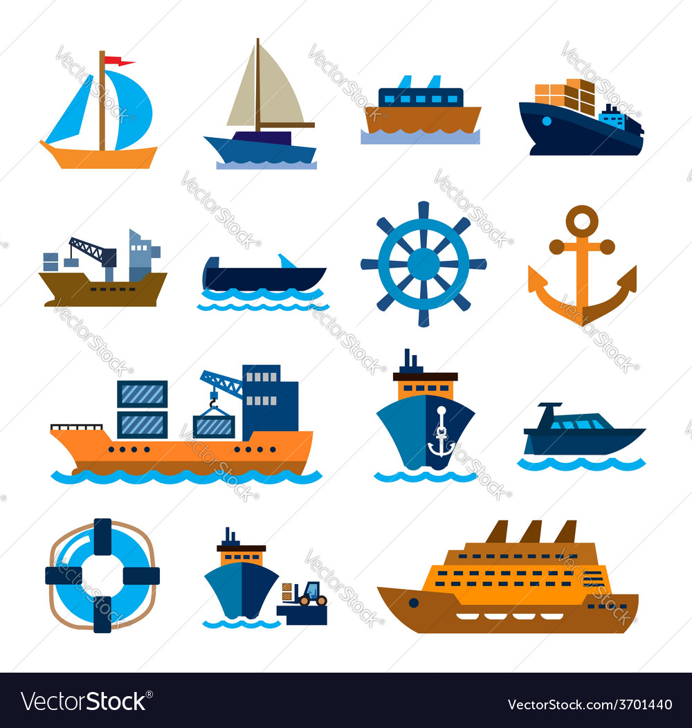 Boat and ship vector