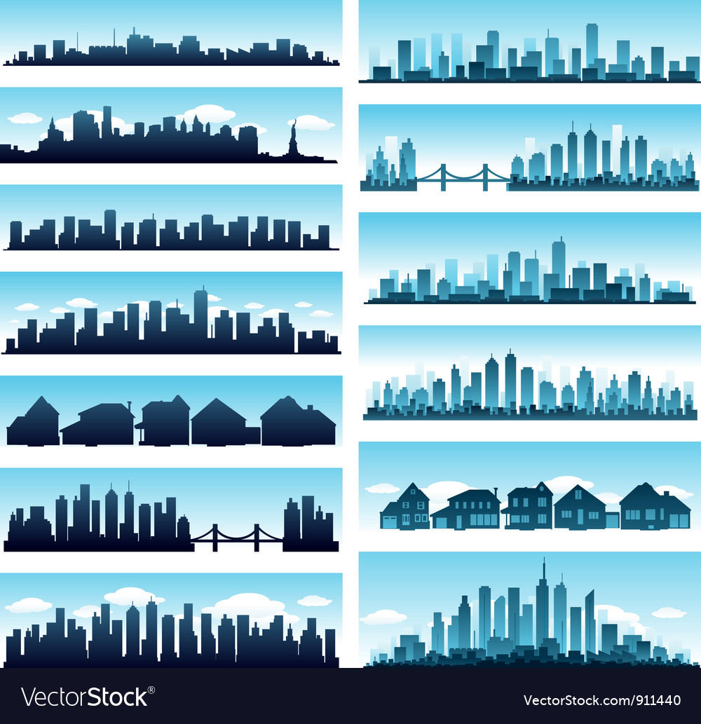 City skylines panoramic vector