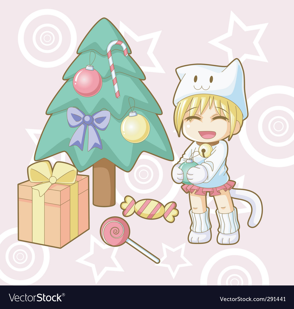 New year white cat kawaii vector