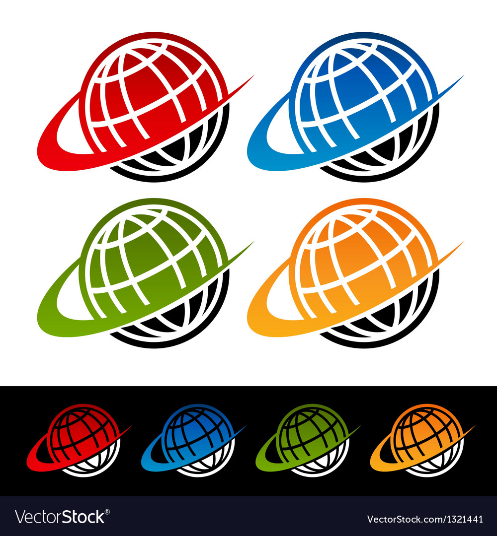 Swoosh earth logo icons vector