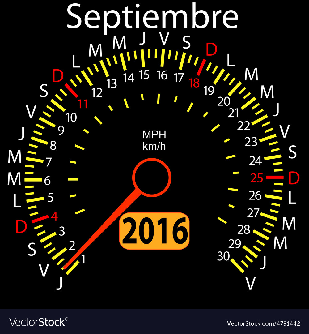 2016 year calendar speedometer car in spanish vector