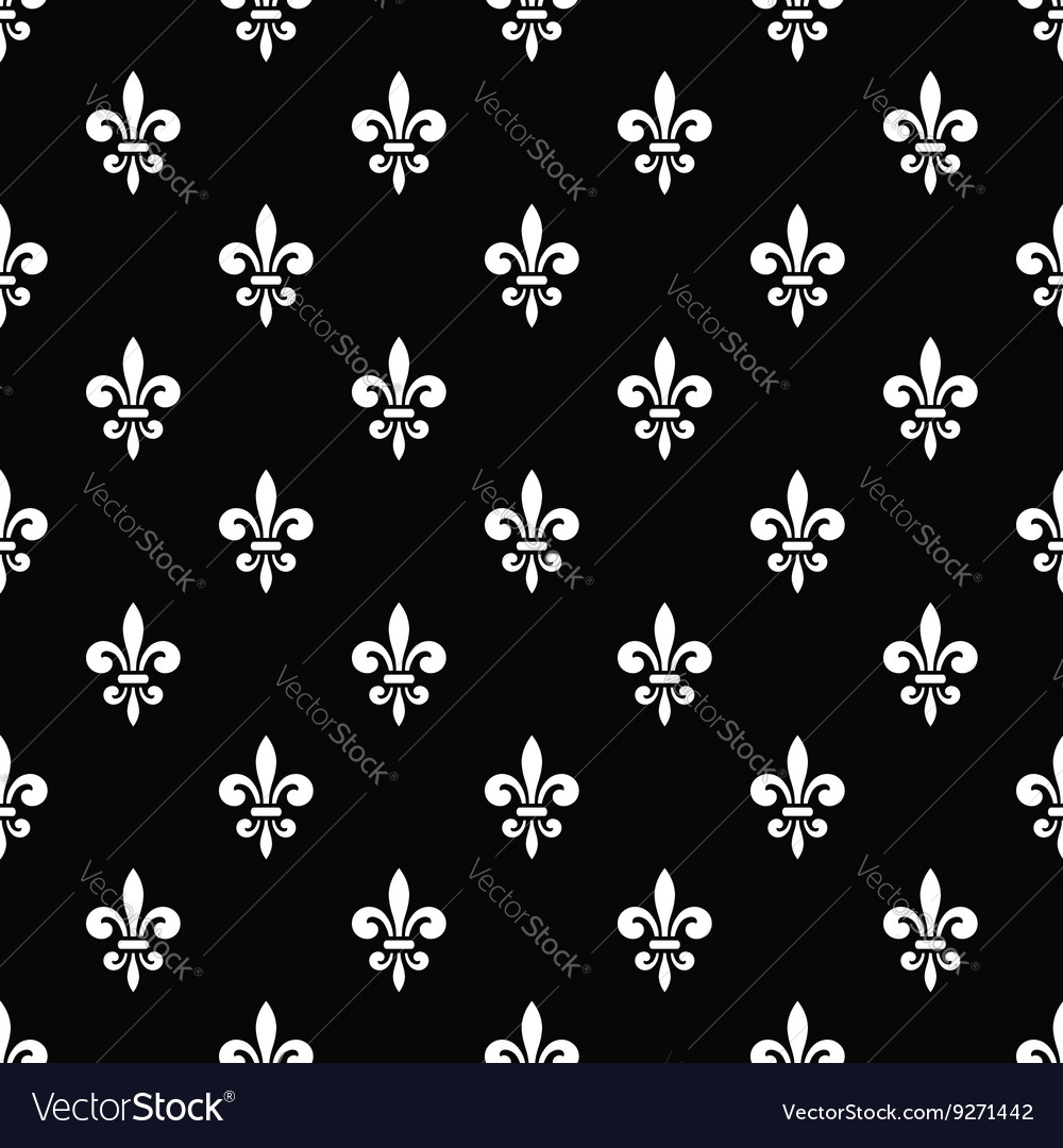 Golden fleurdelis seamless pattern black 7 vector