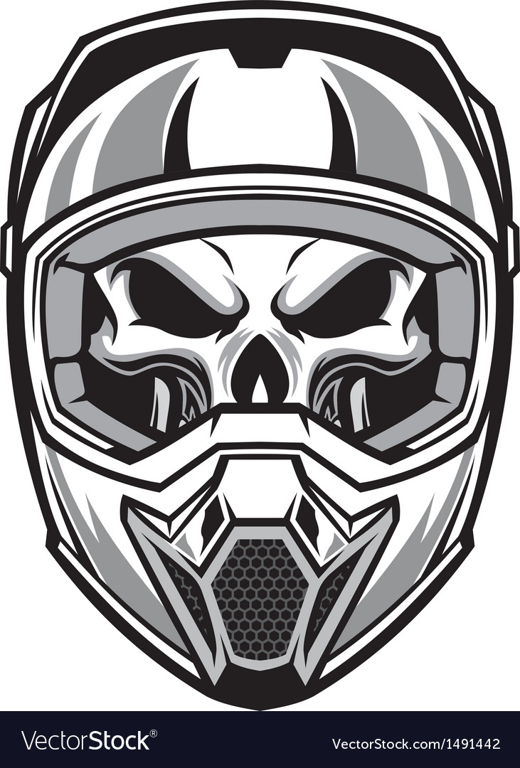 Skull wearing motocross helmet vector