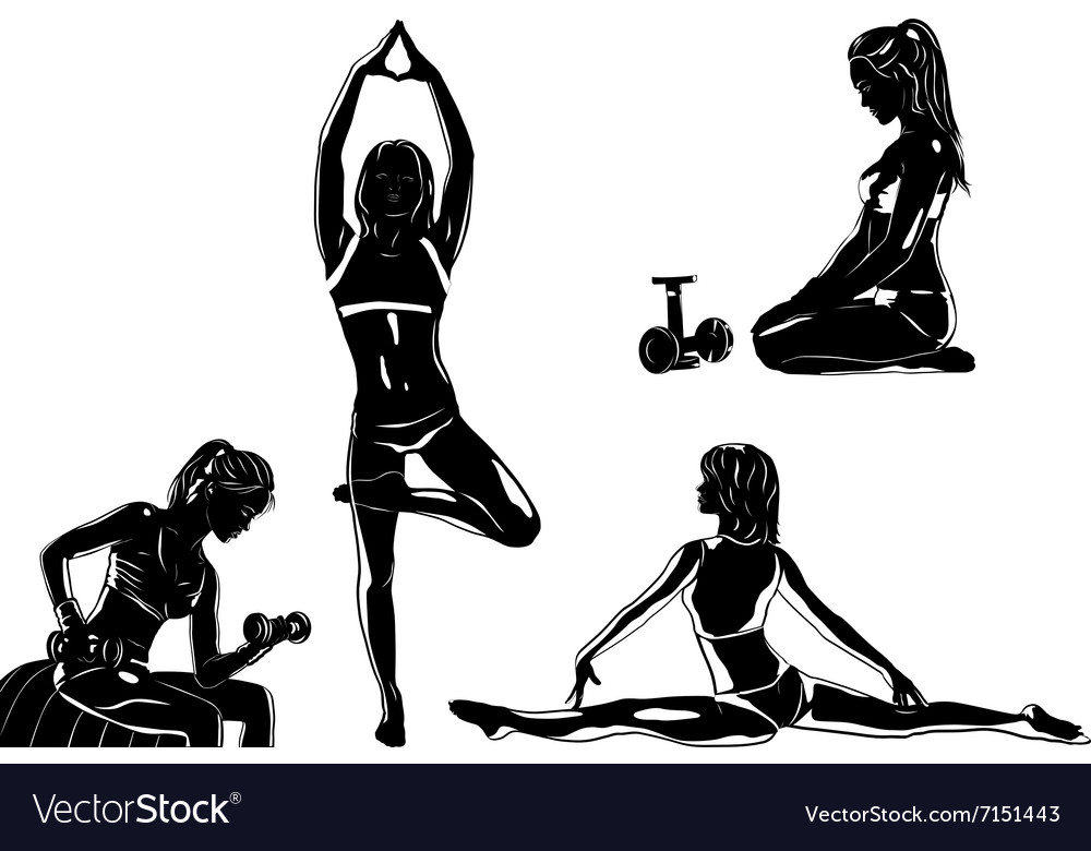 Four sports women silhouettes vector