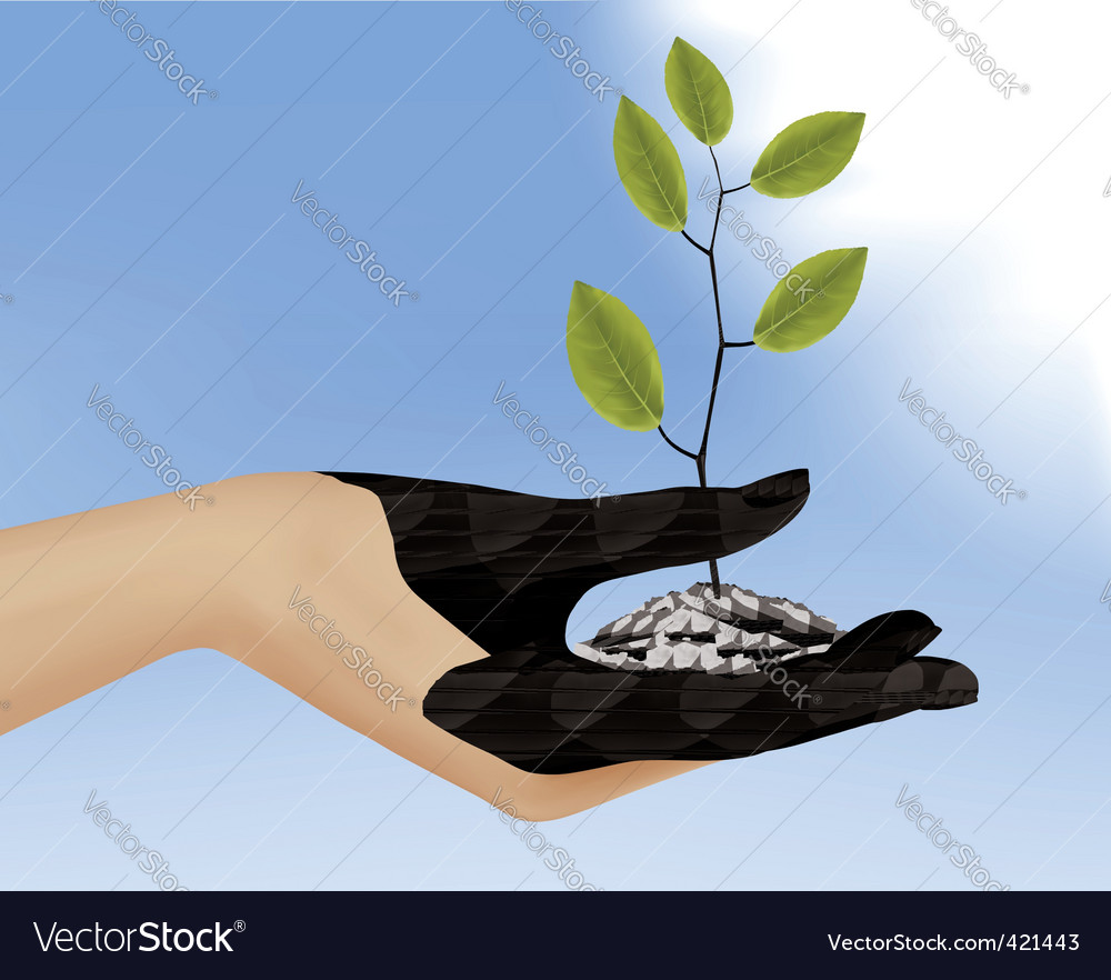 Hand with plant vector