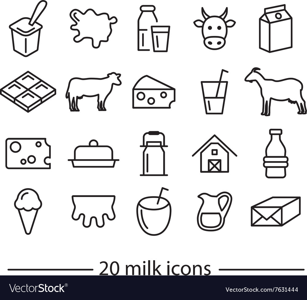 Milk line icons vector