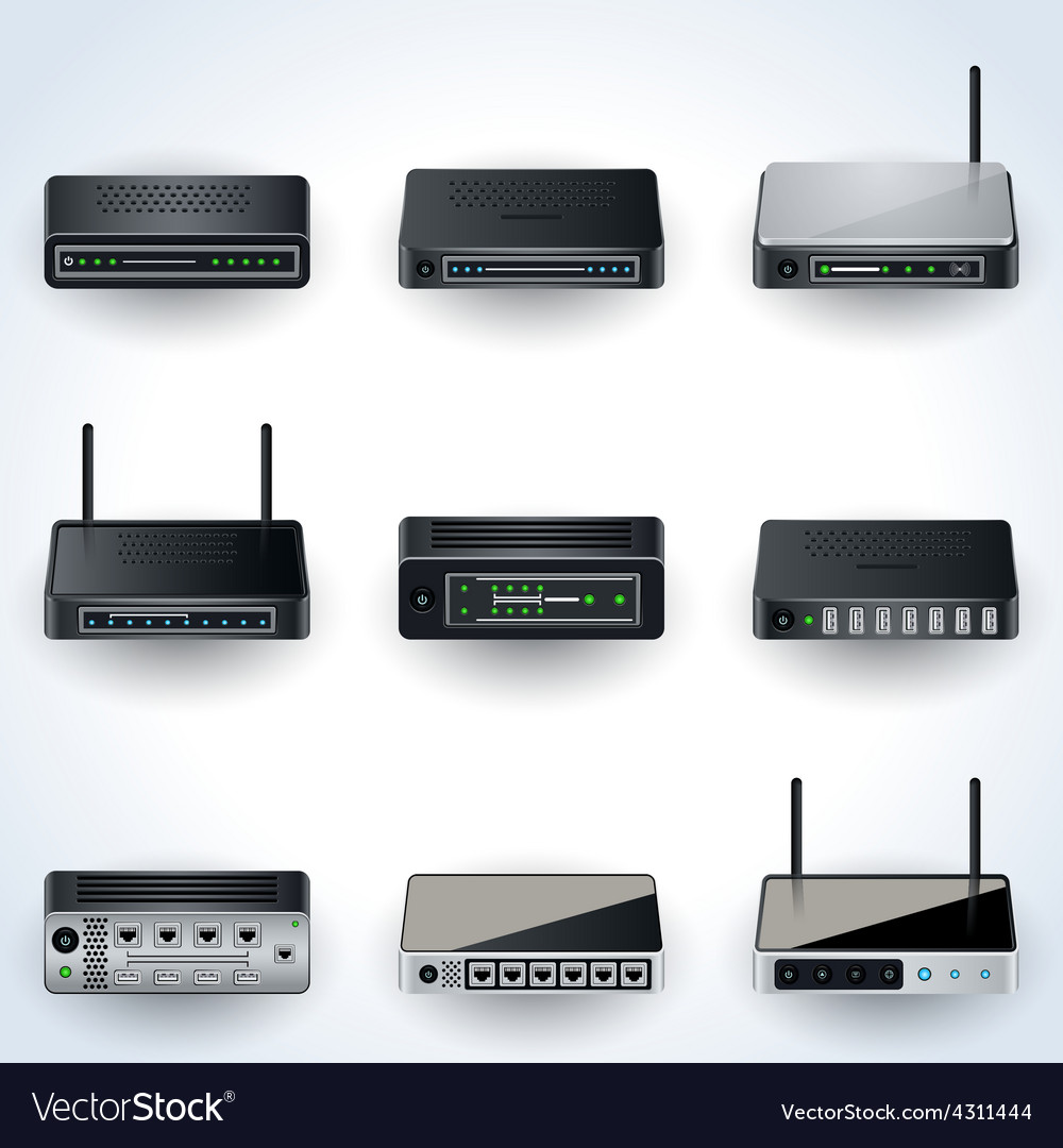 Network equipment icons vector