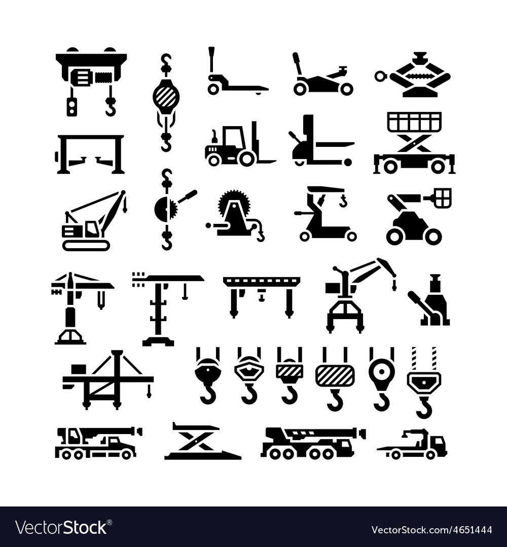 Set icons of lifting equipments cranes winches vector