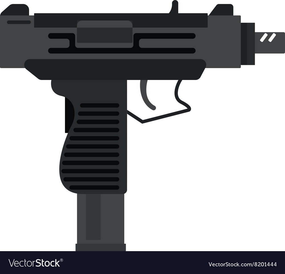 Uzi submachine gun military rifle army and weapon vector