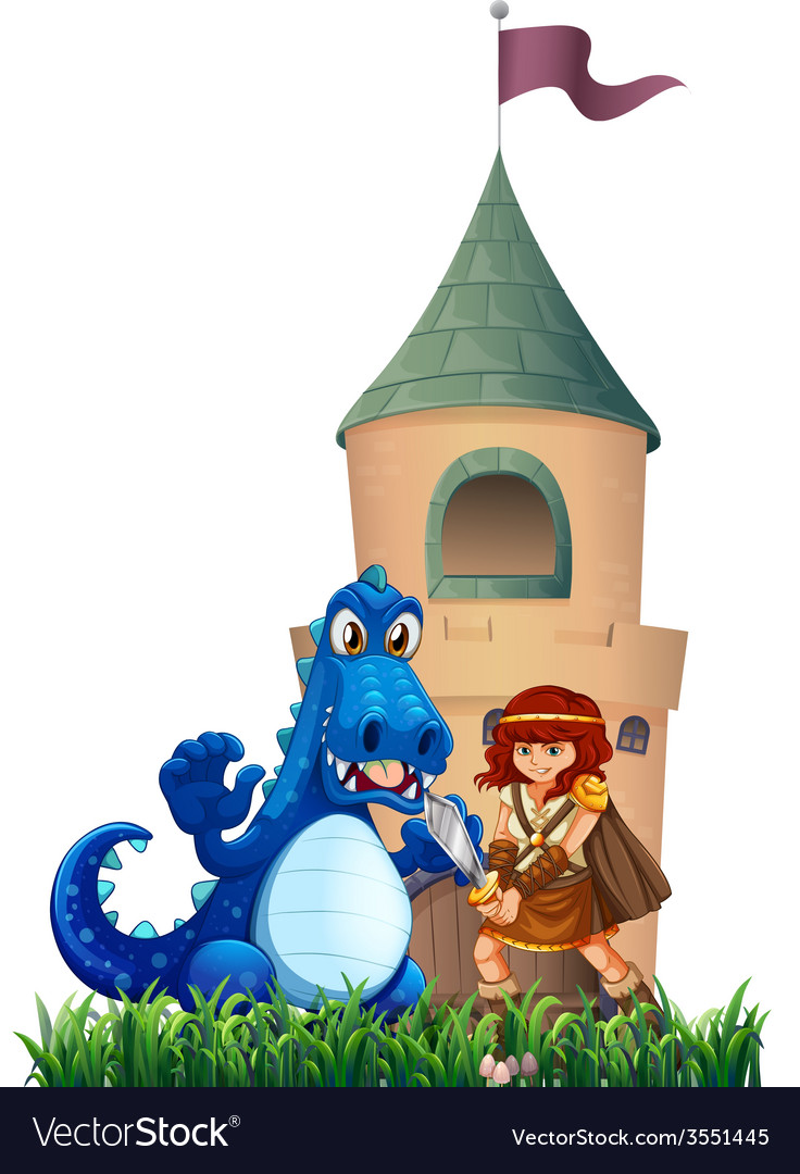 A woman and a dragon outside the castle vector