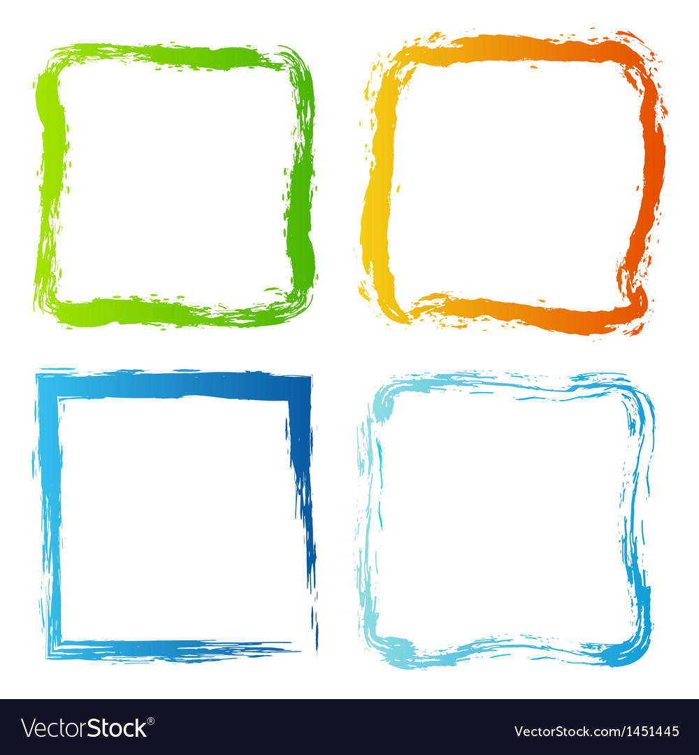 Grunge painted colorful borders vector