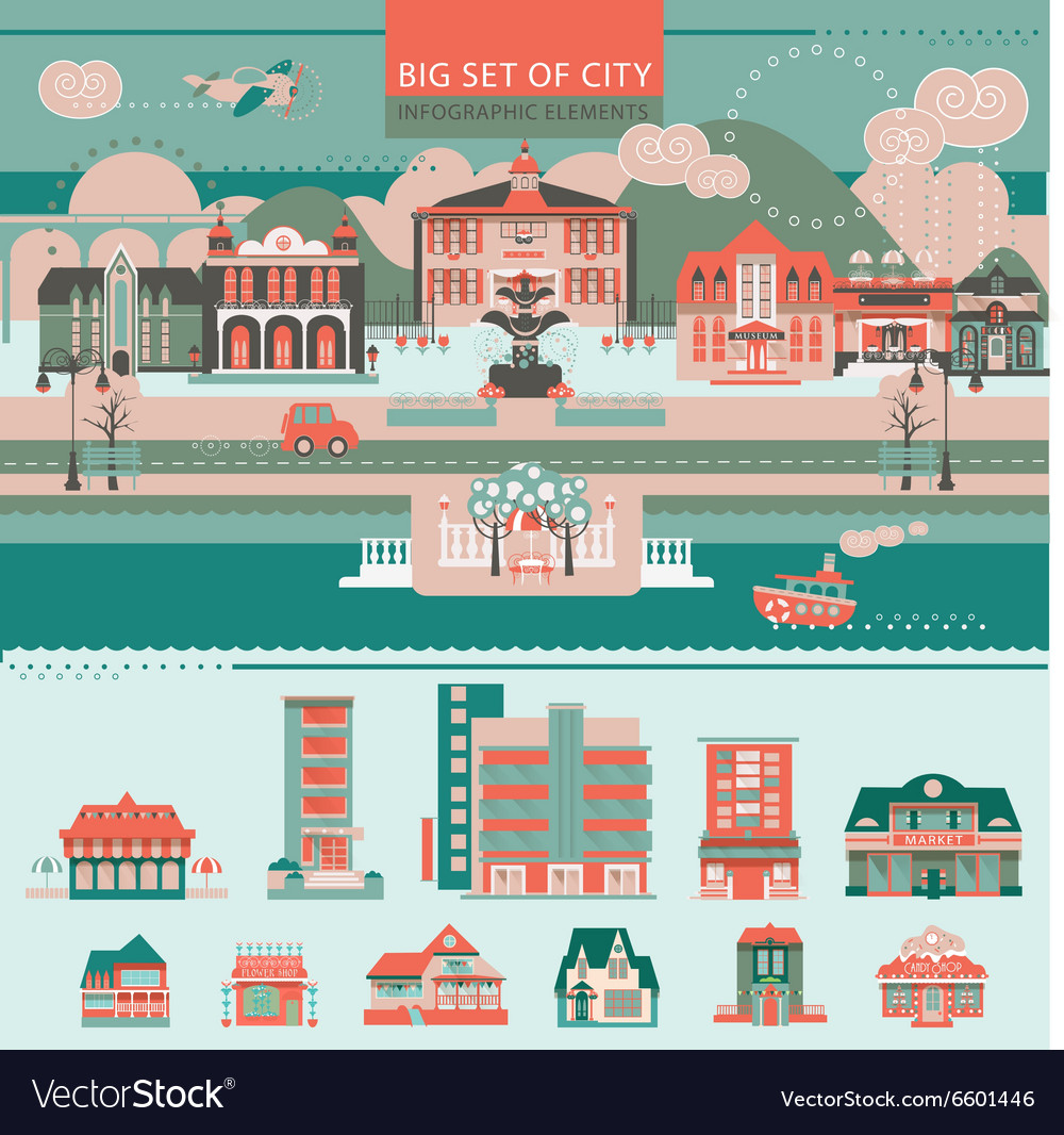 Big set with city infographic objects vector