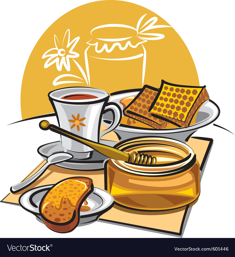 Honey and tea vector