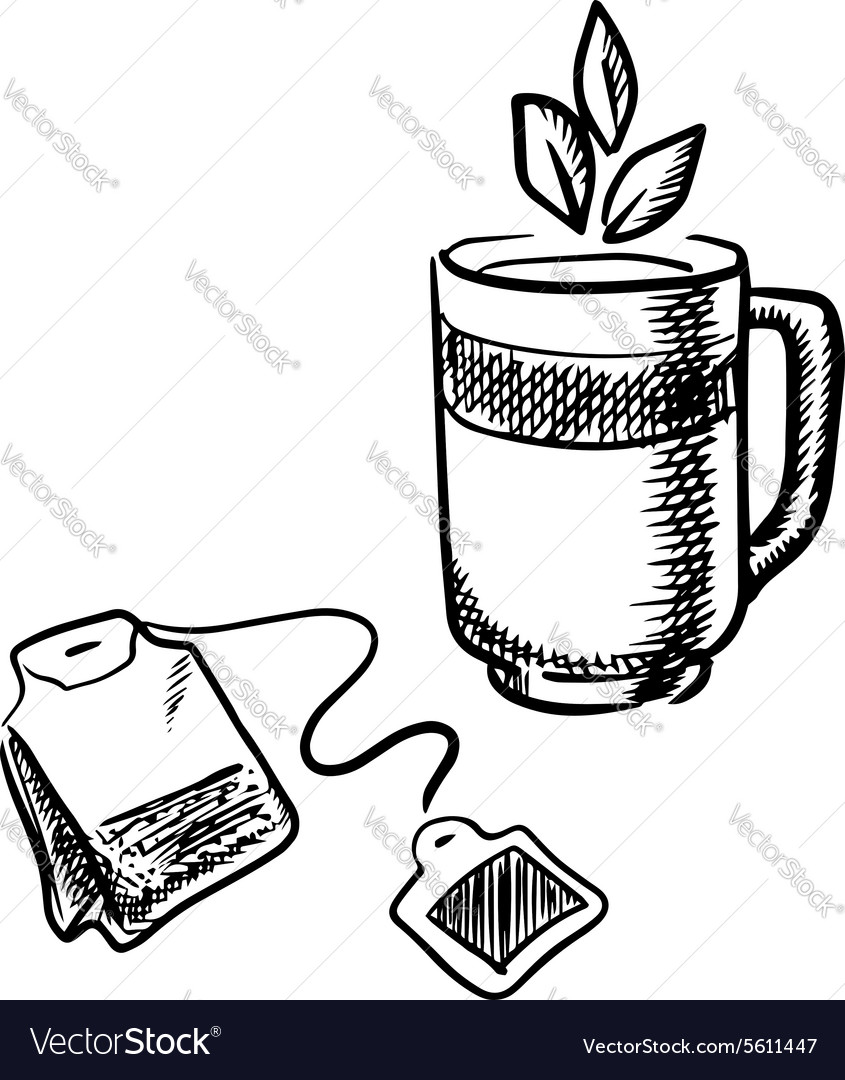 Cup of tea with teabag vector
