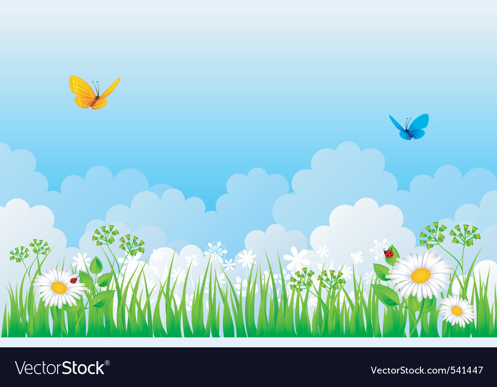 Grass back cloud vector