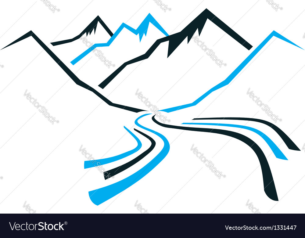 Mountains and valley vector