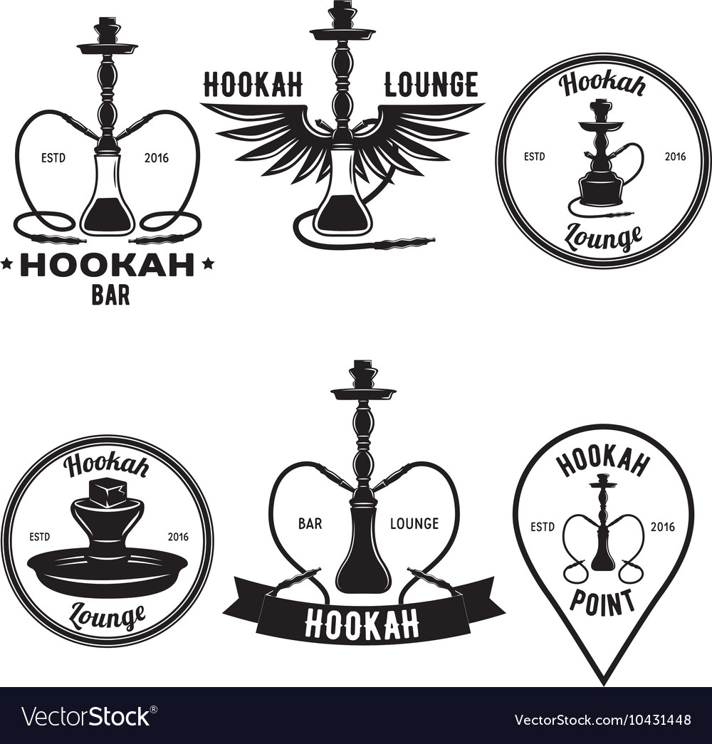 Hookah related set of logo labels and emblems vector