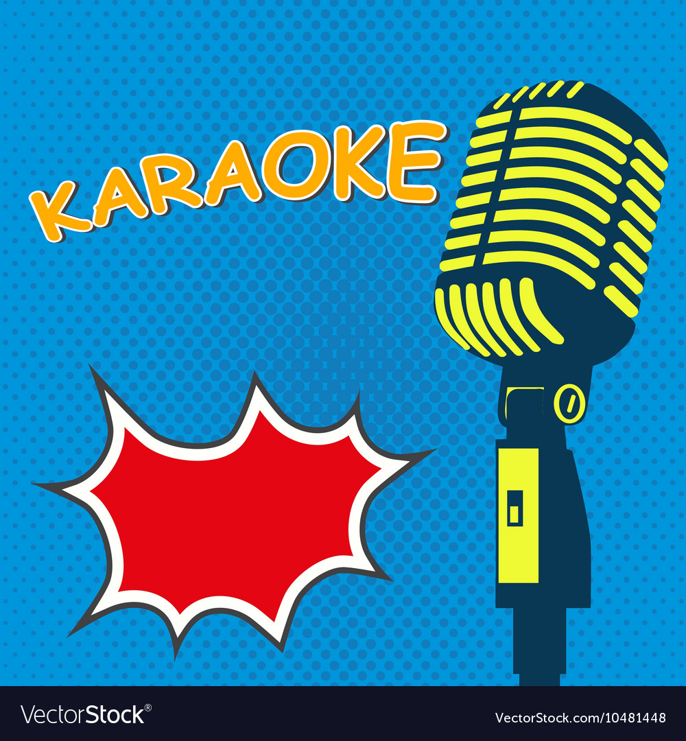 Karaoke old style microphone on pop art style vector