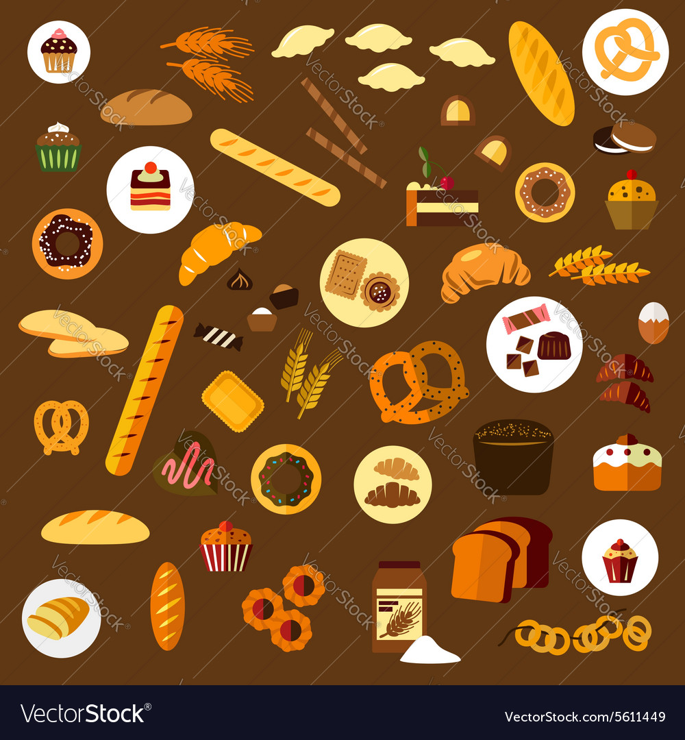 Bakery pastry and confectionery flat icons vector