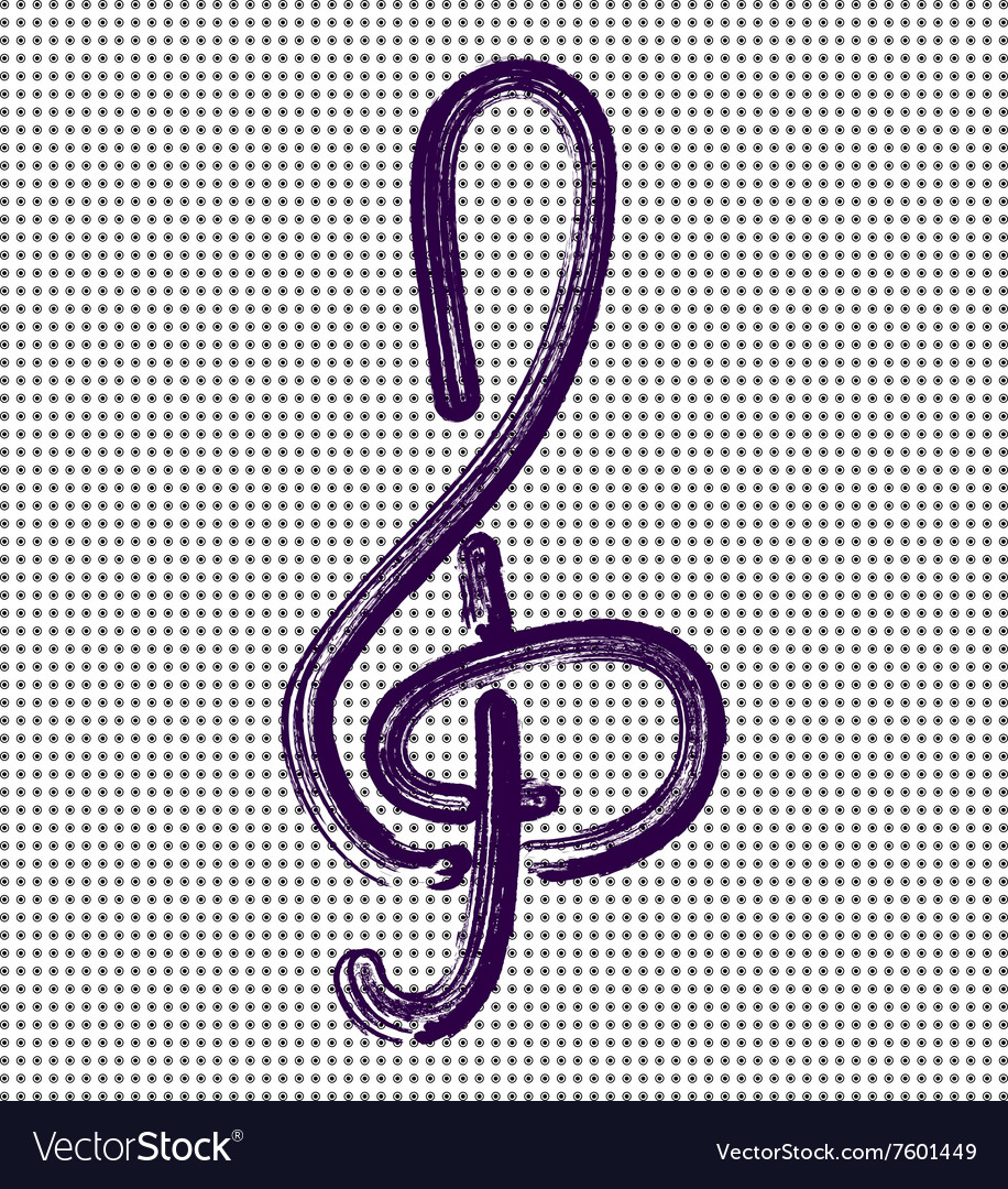 Treble clef on a background with dots vector