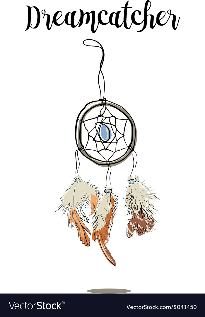 Handdrawn with ink dreamcatcher with feathers vector
