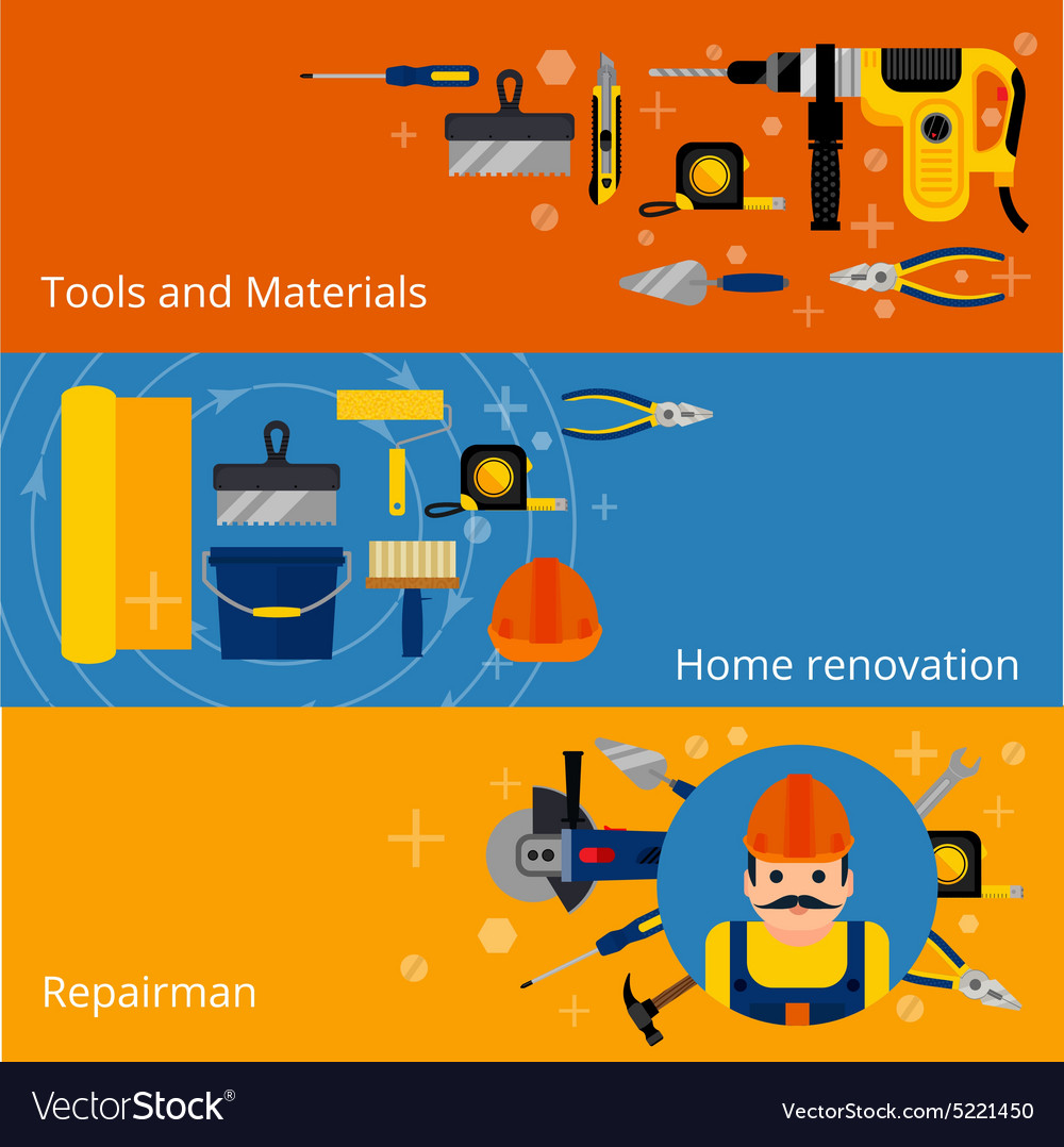 Home repairs and renovation banners vector
