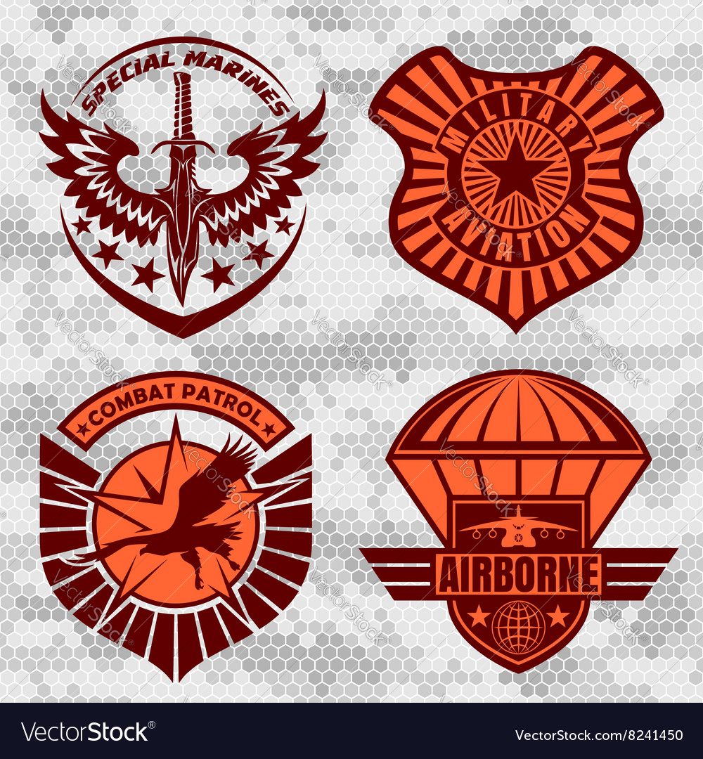 Military airforce patch set  armed forces badges vector