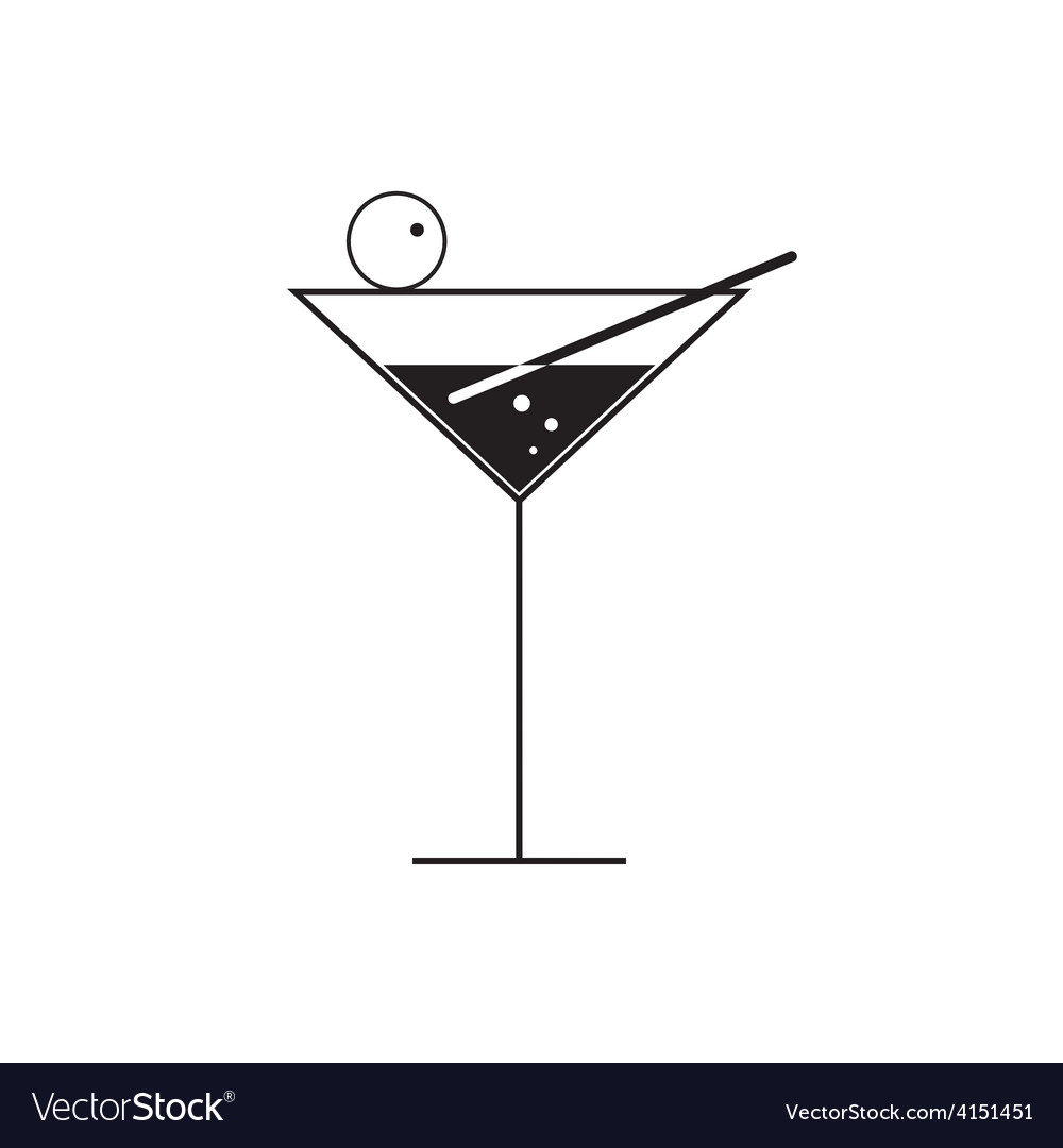 Martini glass on white vector