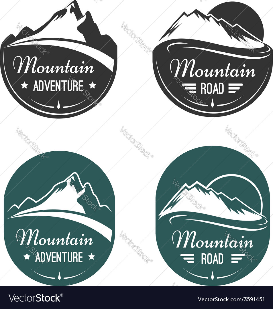 Mountain labels vector