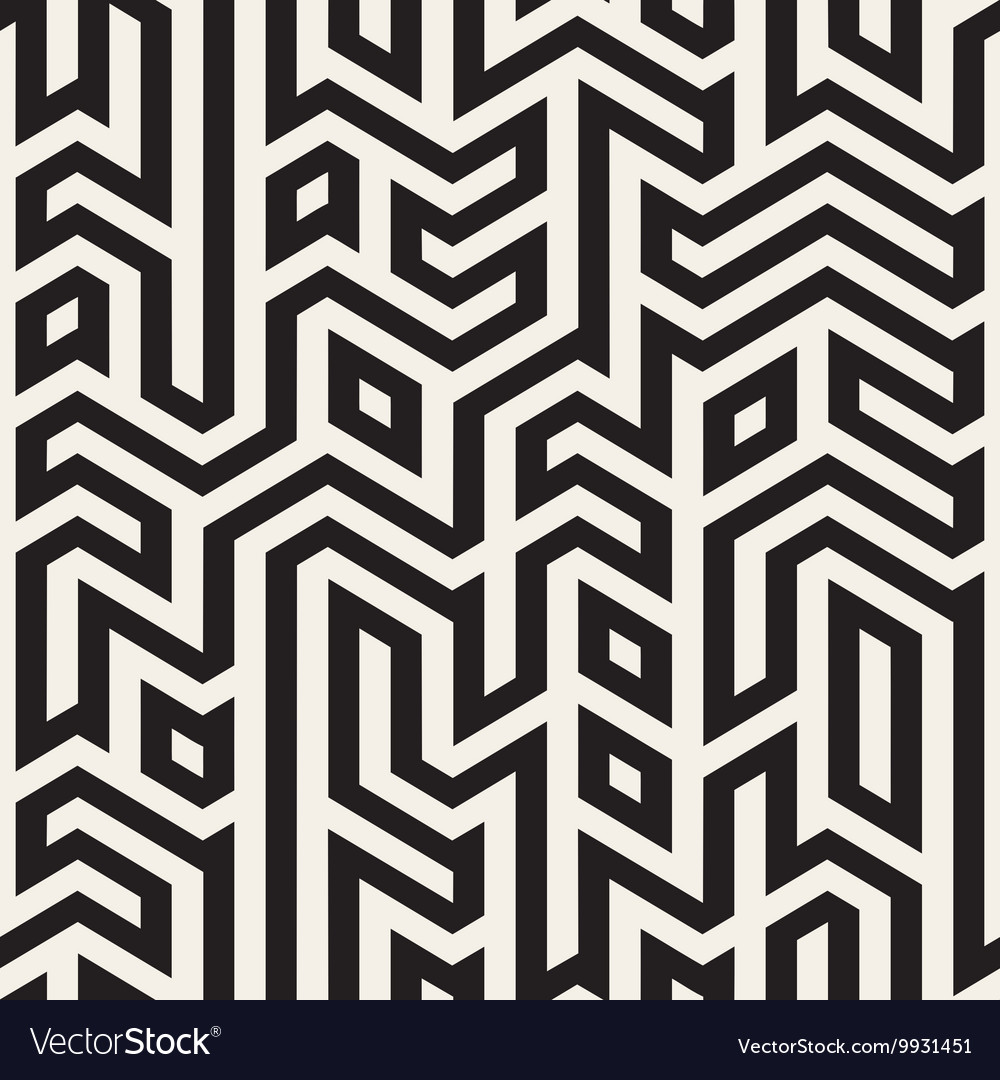 Seamless black and white maze lines vector