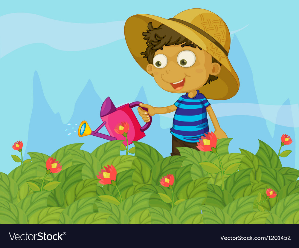 A boy watering the plants in a garden vector