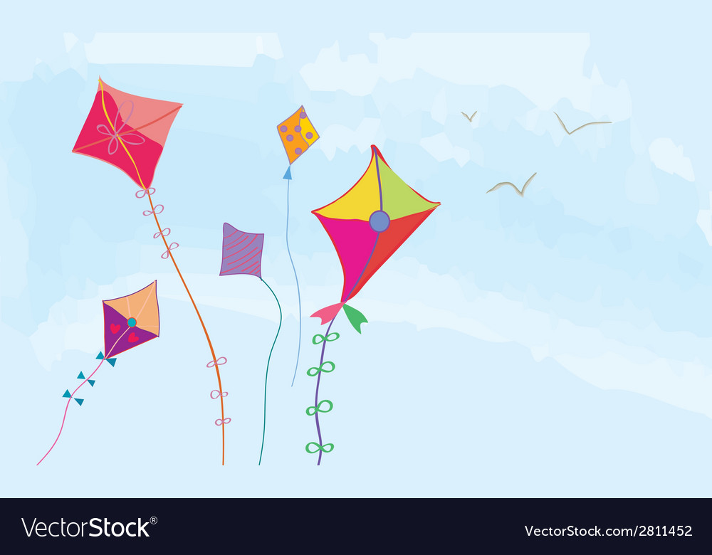 Banner with sky kites and birds horizontal vector