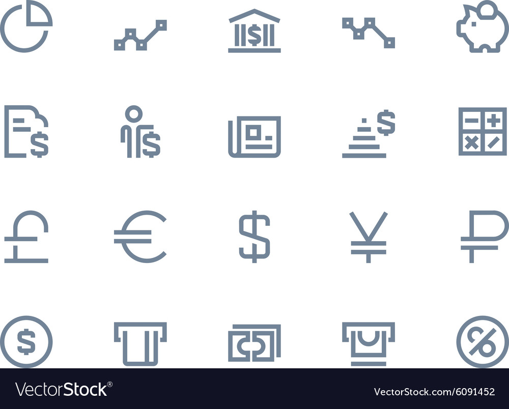 Finance and bank icons line series vector