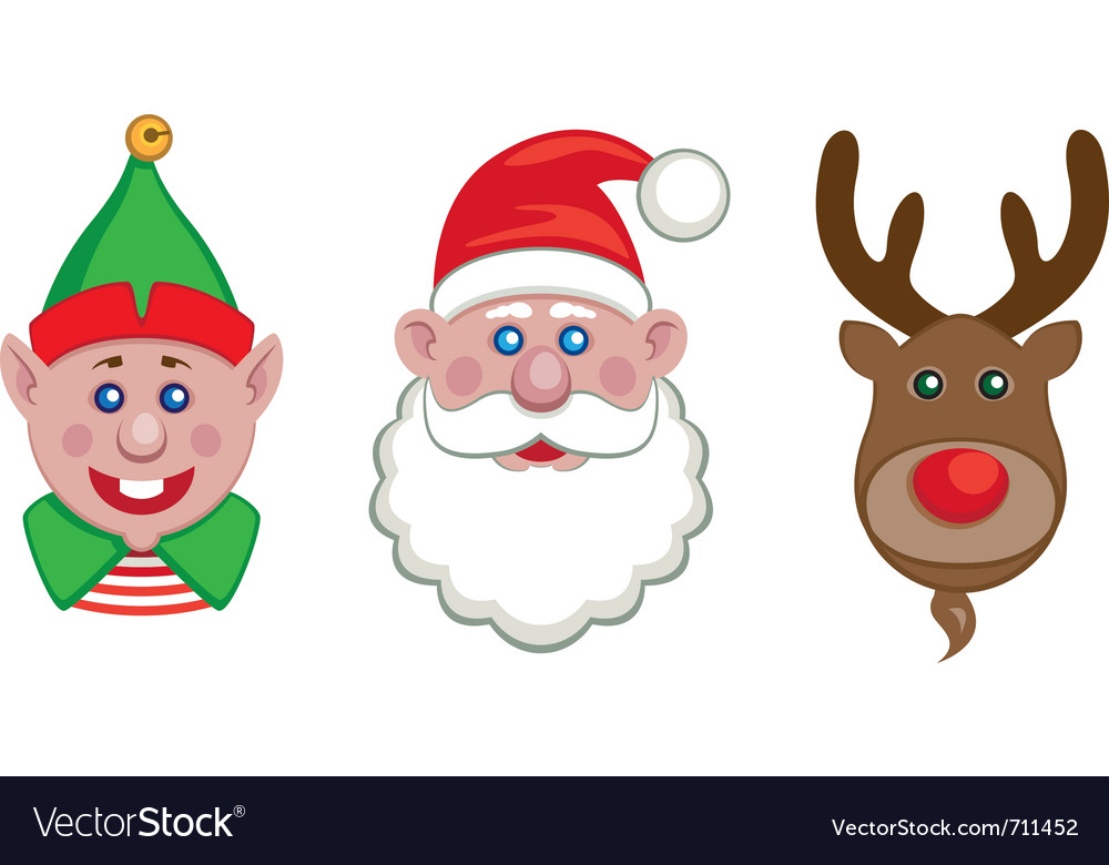 Portraits of santa elf and reindeer vector