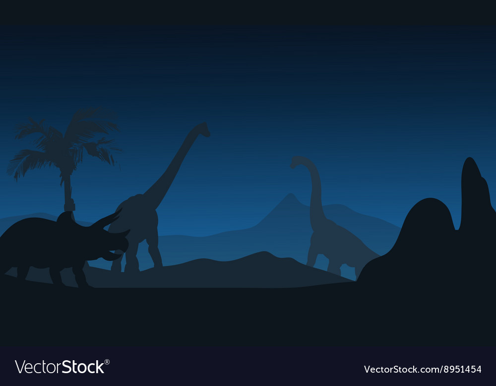 At night silhouette of triceratops and vector