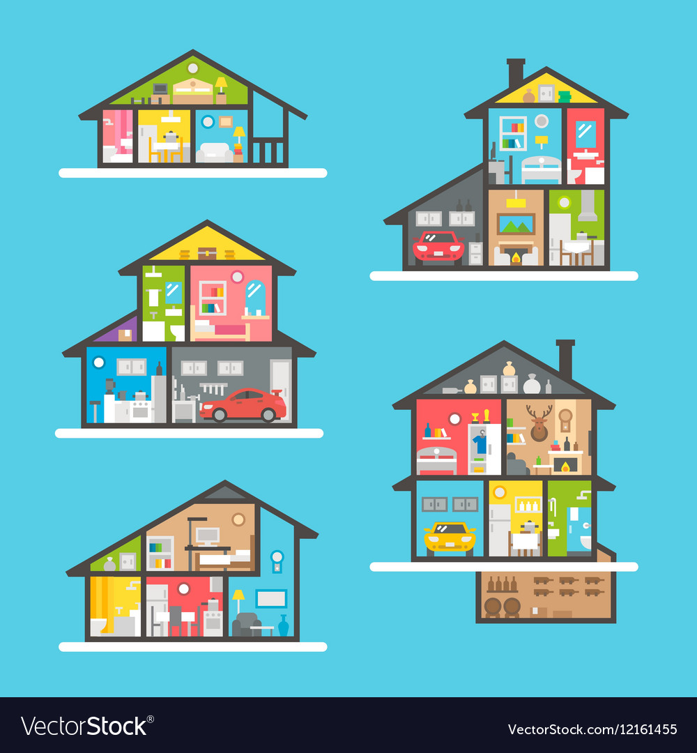 Flat design houses interior set vector