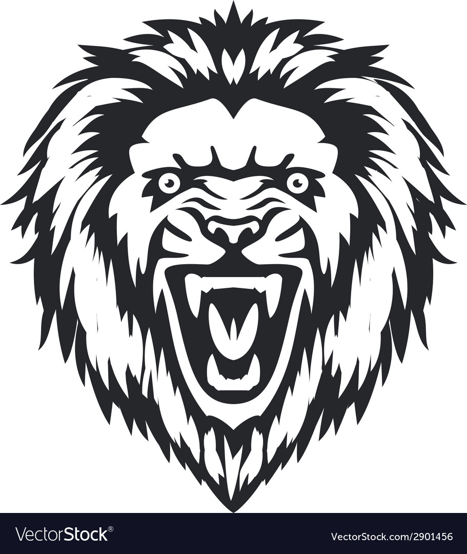 Lion head front vector
