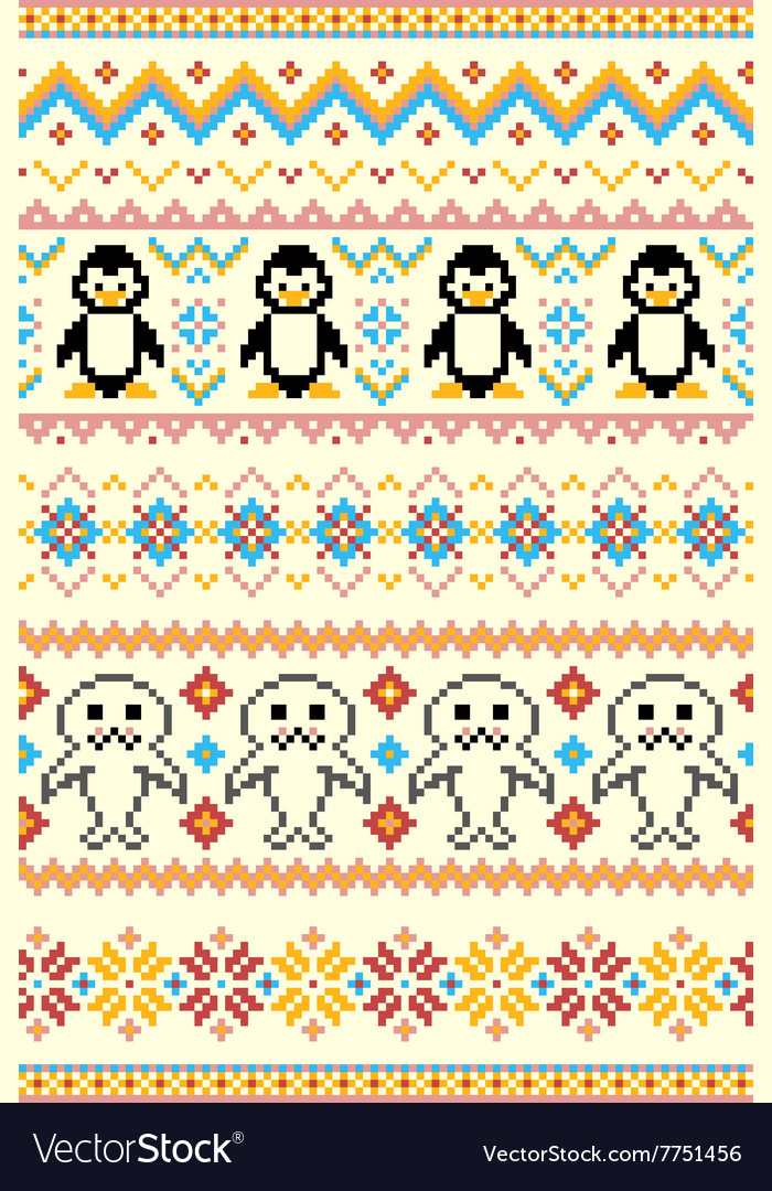 Pixel bright seamless winter pattern vector