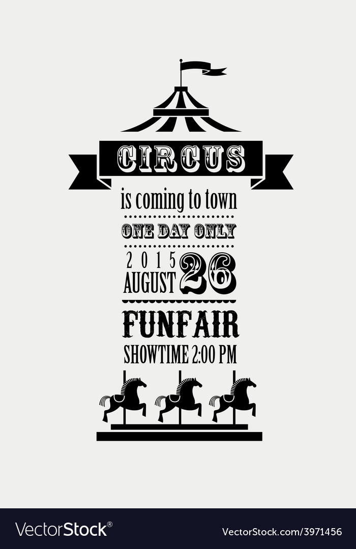 Vintage poster with carnival fun fair circus vector