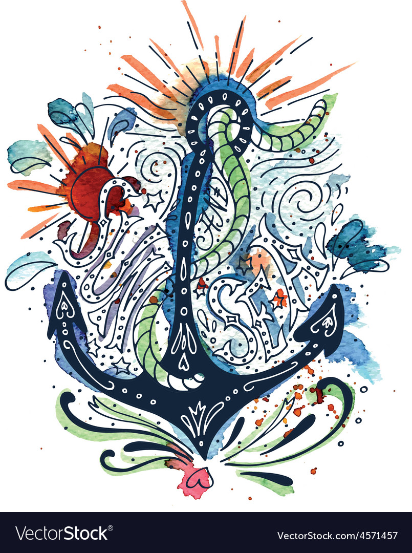 Watercolor print with an anchor vector