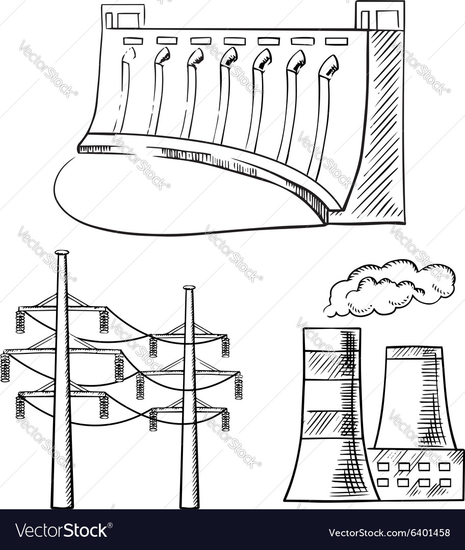 Electrical power plants and towers sketch icons vector