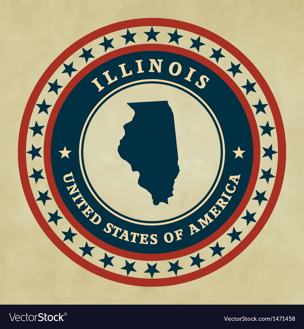 Vintage label illinois vector