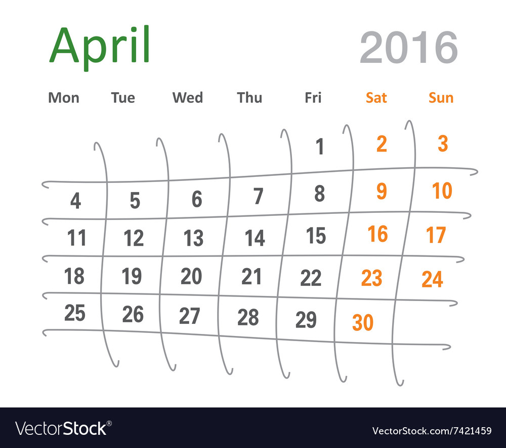 April 2016 calendar funny grid vector